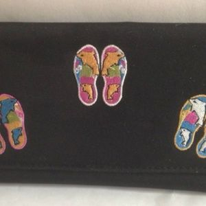 Flip Flop Wallet Dolphins Embroidered Clutch New